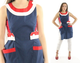Vintage 70s Pinafore Dress Sailor Nautical Jumper Tunic Navy Blue 1970s Lolita Pinup Fashion Mini Dress Medium M
