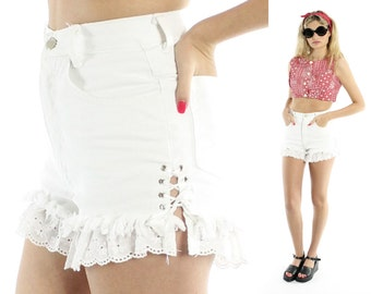 Vintage 90s High Waisted Shorts Cutoffs White Lace Denim Corset Laced Sides 1990s Small S XS