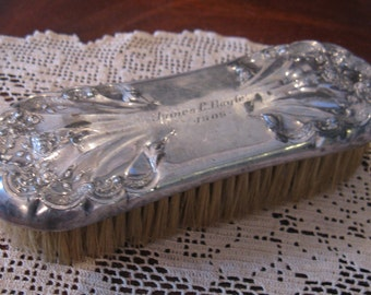 Vintage  Art Nouveau Repousse Silver Plate Clothes Brush, 1909