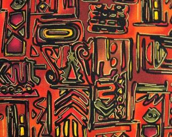 "Vtg Timeless Treasures Fabrics, Kenta Tiki Geometrics Fabric, Shaded Orange & Red Cotton Fabric, 44 x 42"" 1 YD +"