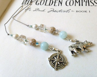 Golden Compass Inspired Bookmark Young Adult Fiction Jeweled Beaded Book Thong Ice Blue, Clear, Tan with Silver Compass and Polar Bear Charm