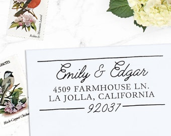 Custom Address Stamp, Return Address Stamp, Wedding address stamp, Calligraphy Address Stamp, Self inking or Eco mount stamp - Composite