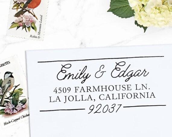 Custom Address Stamp, Return Address Stamp, Wedding address stamp, Calligraphy Address Stamp, Self inking or Eco mount stamp - Composite