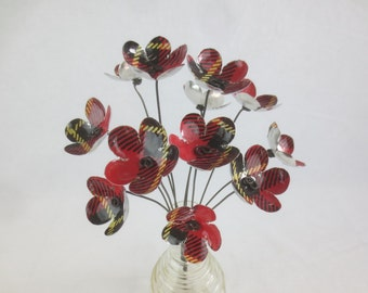 Dozen Red and Black Tartan Bouquet Forever Blooming Tin Flowers