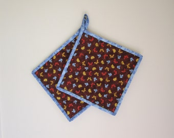 "Quilted Potholders ""Butterflies"" Set of 2, Quiltsy Handmade, Fabric Hotpads"