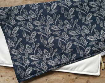 Navy Feather Travel Diaper Changing Pad// Nappy Mat// Play Mat// Waterproof Diaper Changing Mat// Waterproof Play Mat