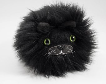 Catball -- furry cat handmade stuffed animal -- custom plush in soft black faux fur