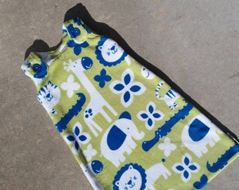 Maryjane Sleep Sack - Bright Green with Blue and White Safari Animals - Ultra Cuddle Fleece