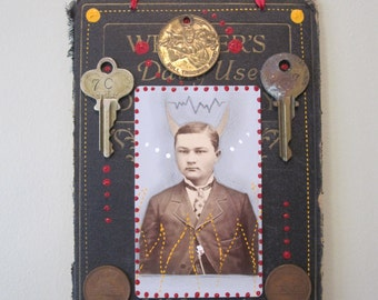 Lil' Devil mixed media assemblage, 3D collage, upcycled art