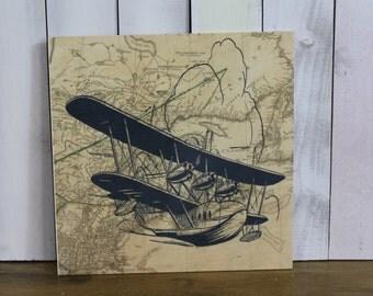 Vintage Airplane Sign/Aircraft/Map/Bi Plane/Seaplane/Plane/Plane Decor/Pilot/Wood Sign/Vintage Style/Plane/Burgundy