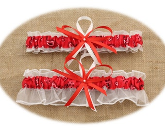 Red Paisley and White Wedding Garter Set