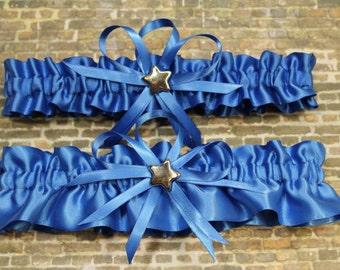 Royal Blue Wedding Garter Set with Star Charms