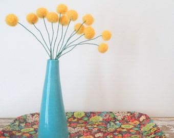 Felt craspedia flowers. Sunflower yellow wool pom poms. Pompom flowers. Faux flower bouquet. Bright floral arrangement. Felt billy balls.