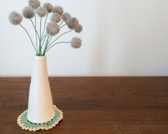 Grey Gray Pom pom Flowers.  Felt flowers.  Modern Bouquet.  Faux Flowers. Craspedia, billy balls, billy buttons, pompom.  Rain. storm cloud.