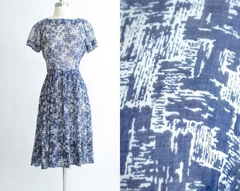 Vintage 50s Dress | 1950s Cotton Dress | Sheer Cotton Blue Crosshatch Dress