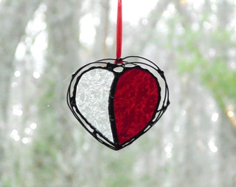 Stained glass heart suncatcher, glass and wire heart, red textured heart gift under 20, unique heart art, window decoration, heart ornament