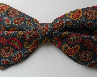 """Paisley Clip Bow Tie, Wembley Bow Tie, Vintage Bow Tie, 3"""" Clip Bow Tie, Dress Bow Tie,  Mad Men Bow Tie"""