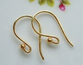 Handmade 24K Gold Vermeil over 925 Sterling Silver French Ear Wire with Ball, 16x10 mm - EW-0031