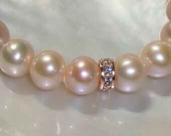 Natural Pink Pearl Bracelet, Rose Gold Sterling silver CZ Rondelle Pearl Bracelet