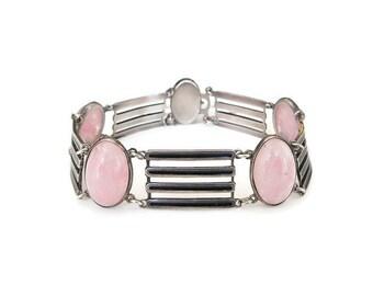 Art Deco Bracelet, Sterling Silver, Black Enamel, Rose Quartz Glass, Modernist Design, Art Deco Jewelry, Vintage Bracelet