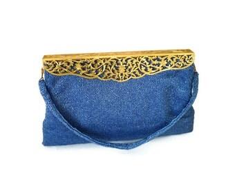 Josef Handbag, Made in France, Blue Beaded Purse, Gold Pierced Metal, Hinged Frame, French Handbag, Vintage Fashion Accessory