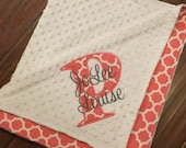 Personalized Baby Blanket- Personalized Nursery Blanket- Quatrefoil Baby Blanket- Minky Baby Blanket