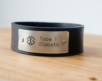 Medic Alert Custom Text on Minimal Black Leather Cuff Type 1 Diabetic