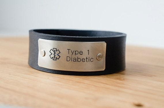 Medic Alert Custom Text on Minimal Black Leather Cuff Type 1 Diabetic