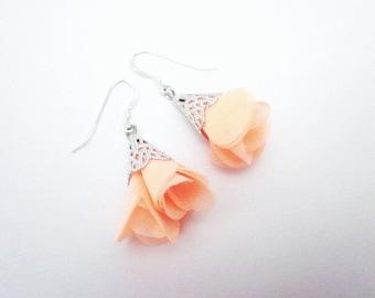 Pastel Flower Earrings -- Peach Flower Earrings -- Light Peach Earrings -- Pastel Peach Earrings  -- Tutu Earrings -- Flower Cloth Earrings
