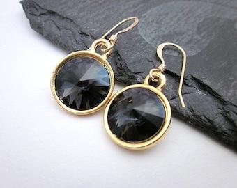 Graphite Crystal Earrings -- Gold & Dark Grey Earrings -- Grey Swarovski Earrings -- Dark Grey Crystal Earrings -- Grey Dangles