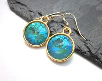 Blue Green Dangles -- Teal Drops -- Teal Swarovski Earrings -- Gold & Teal Green Earrings -- Teal Green Crystal Earrings -- Ultra Emerald