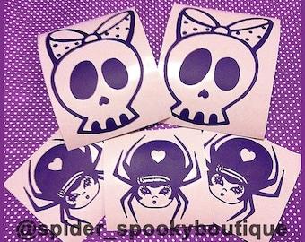 Deadsie Skull Bow Vinyl Decal Sticker Stickers Spooky Cutie Creepy Cute Car Decal