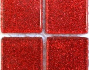 "3/4"" Red Glitter Tile- 49 pc/Red Glitter Tile/glitter mosaic tile"