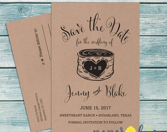 Kraft paper save the date | Etsy