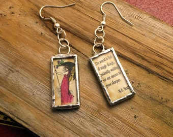 Soldered Glass Fairy Earrings with Yeats Quote