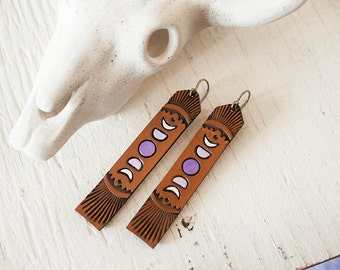 Moon Phases Leather Earrings - Long Tooled Purple, Lavender and Chocolate Leather - Southwestern Celestial inspired jewelry