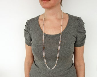 Long chain necklace golden freshwater pearls double chain necklace long necklace women
