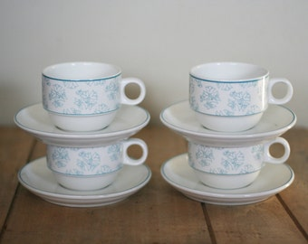 vintage villeroy  and boch cups and saucers set of six