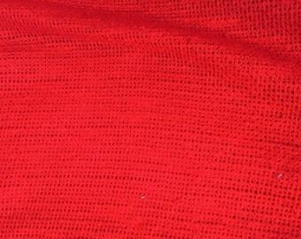 Vintage Vibrant Red Textured Fabric Yardage Destash