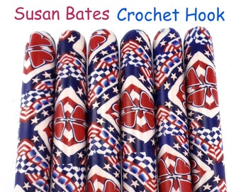 Patriotic Susan Bates, Polymer Clay Covered Crochet Hook
