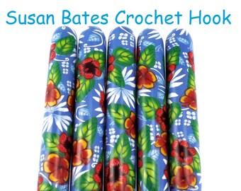 Aloha, Crochet Hook, Polymer Clay Covered Susan Bates Crochet Hook, Hawaiian Design