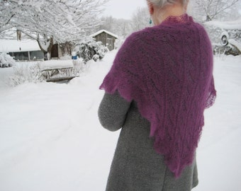 Knitted shawl, purple triangle, hand knitted triangular, mohair lace shawl, knitted wrap, violet lace