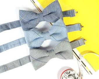 Wedding Set of Plaid Men's Bow Ties, Groomsmen Bow Ties, Mismatched Wedding Bow Ties