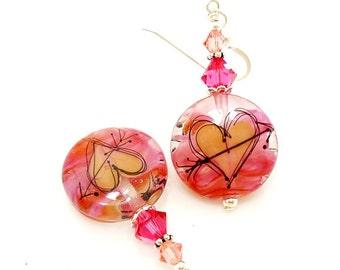 Pink Peach Heart Earrings, Silhouette Heart Earrings, Colorful Earrings, Lampwork Earrings, Glass Bead Earrings, Glass Art Earrings