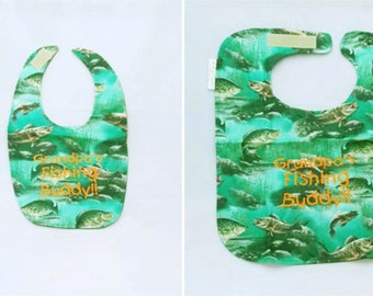 Grandpas Fishing Buddy - Small OR Large Baby Bib - Personalize Yours - FREE Shipping to U.S.