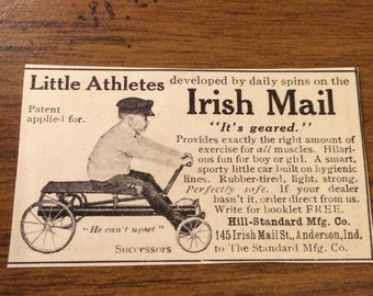 Circa 1905 Little Athletes Irish Mail its geared! Small ad 1 1/2 x 2 1/2. Original ad. Smoke free!
