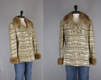 1960s Vintage Coat l 60s Metallic Pea Coat with Mink Collar
