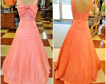 RESERVED Vintage 50's JANE ENGEL Taffeta Salmon Colored Evening Gown with Bow