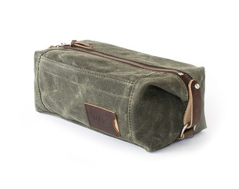 NO. 349 Expandable Dopp Kit with Front Zippered Pocket in Olive Green Waxed Cotton Canvas and Leather, Personalized Toiletry Travel Bag