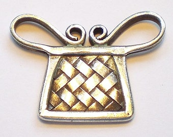 34mm Fine Silver Rectangular Stamped Spirit-Lock Pendant Karen Hill Tribe 1 pc. HT-269
